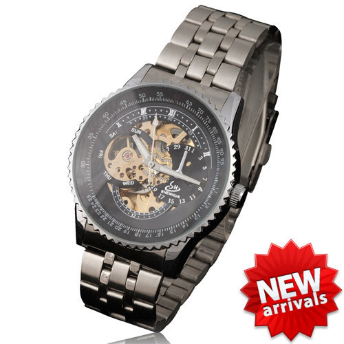 HOT PUNK METALLIC TITANIUM AUTOMATIC MECHANICAL TRANSPARENT SKELETON MEN'S WATCH