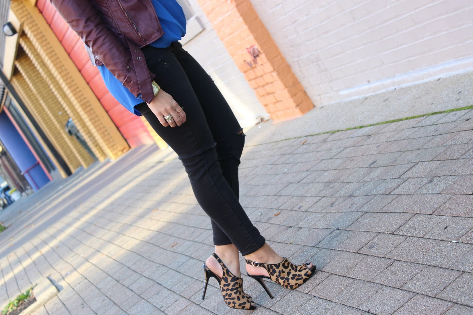 Old Navy Rockstar Distressed Jeans + Vince Camuto Wrap Blouse + Leopard Booties + BarIII Moto Jacket