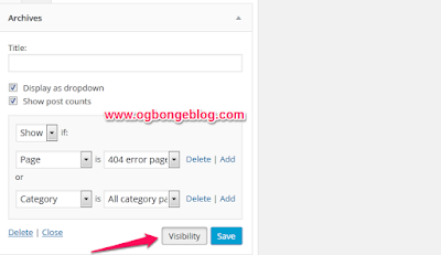 Wordpress widgets visibility