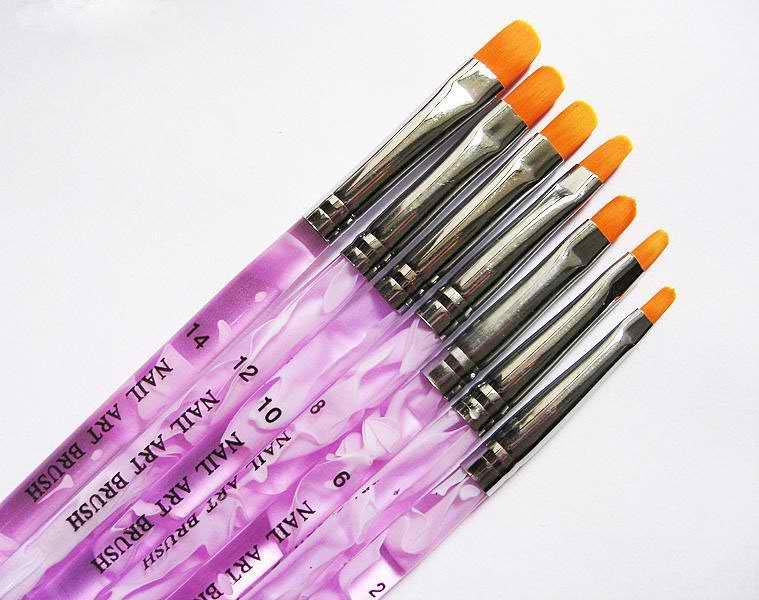 Sizes Professional Flat UV Gel Nail Art Brush
