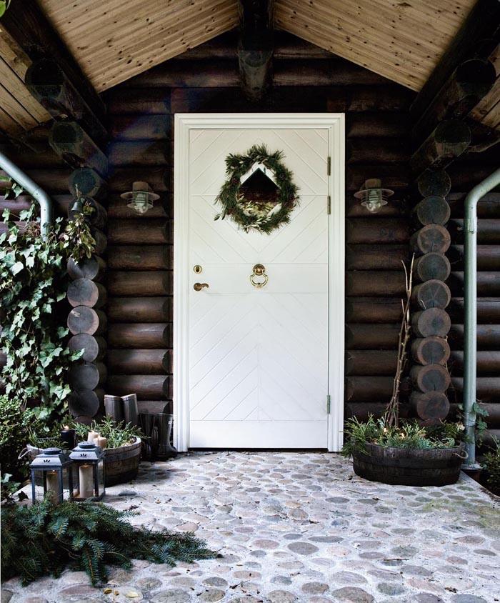 decoracion navidad  casa de campo nordica-puerta entrada