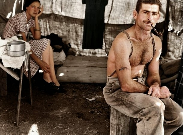 28 Realistically Colorized Historical Photos Make the Past Seem Incredibly Alive - Unemployed Lumber Worker and His Wife, circa 1939