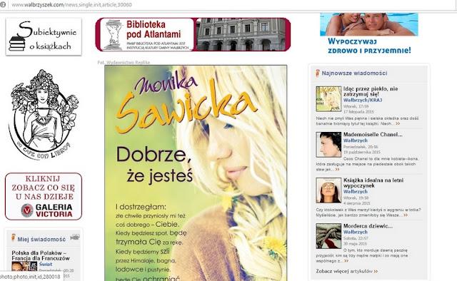 """Recenzja książki """"Dobrze, że jesteś"""" na portalu Walbrzyszek.com!"""
