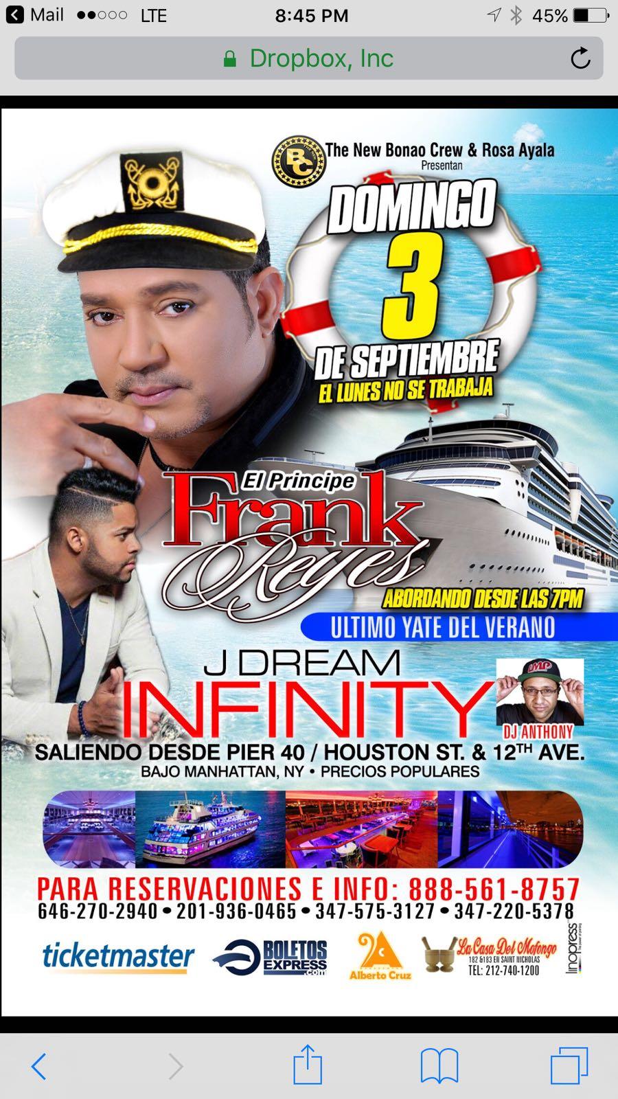 FRANK REYES EN EL INFINITY EL YATE MAS LUJOSO DE NEW YORK