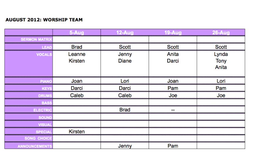 Befc worship team august worship team schedule for Worship schedule template
