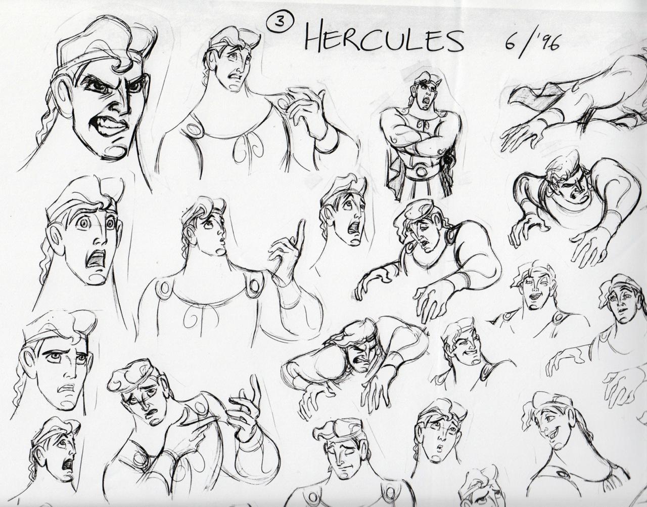 Disney Character Design Sheets : Deja view hercules