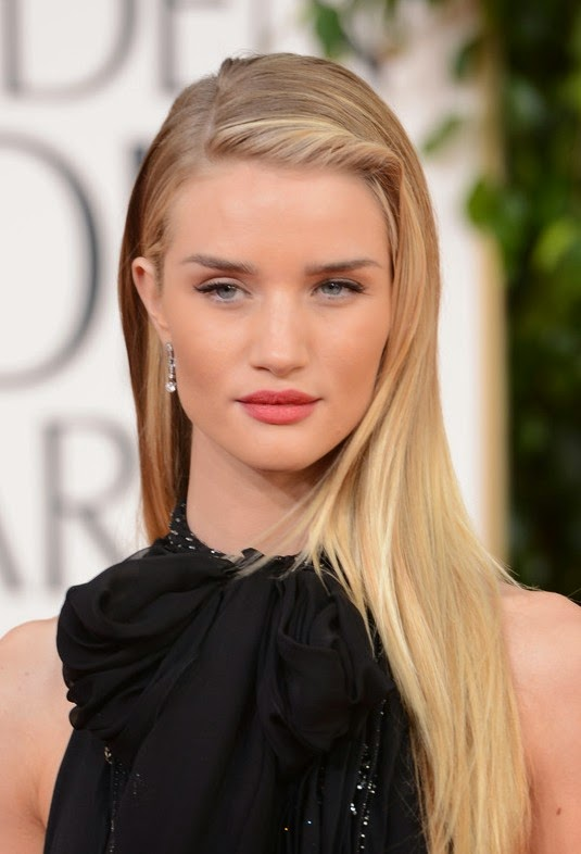 Rosie Huntington Whiteley Long Hairstyle Straight with twisted bangs