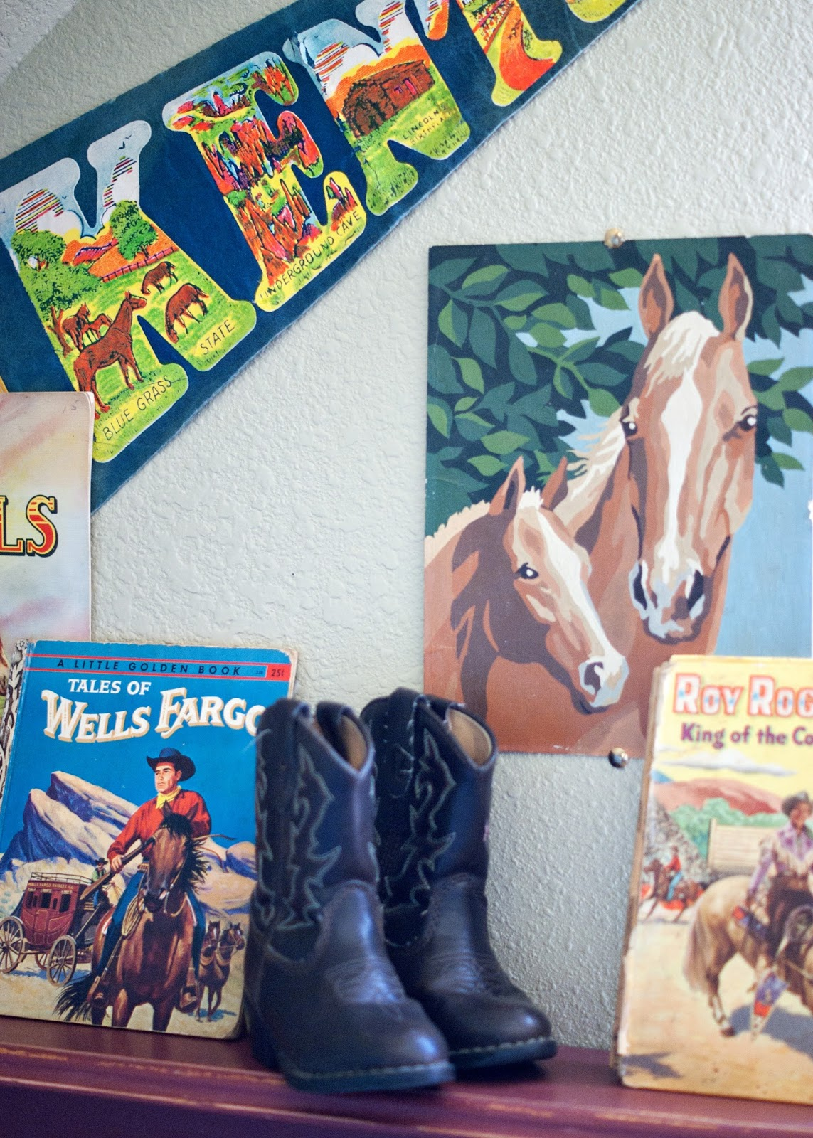 Western children books, old boots and paint by number horses