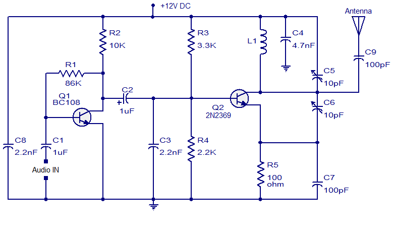 fm transmitter with two transistor