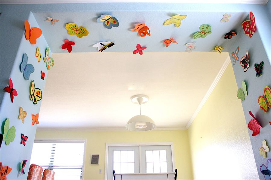 Paper butterfly sanctuary made everyday for Butterfly mural ideas