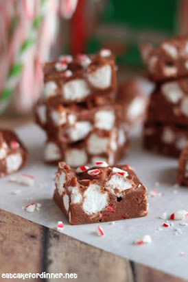 Candy Cane Marshmallow Fudge