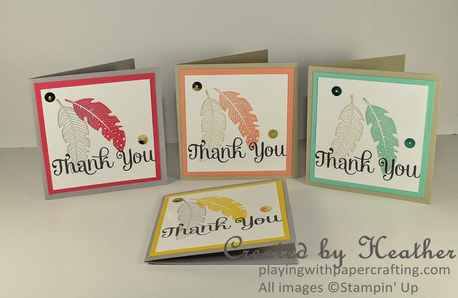 Playing with Papercrafting: Feathery Thank You Cards