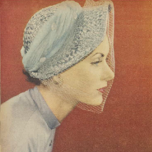 Ice blue straw bonnet 1950 AWW