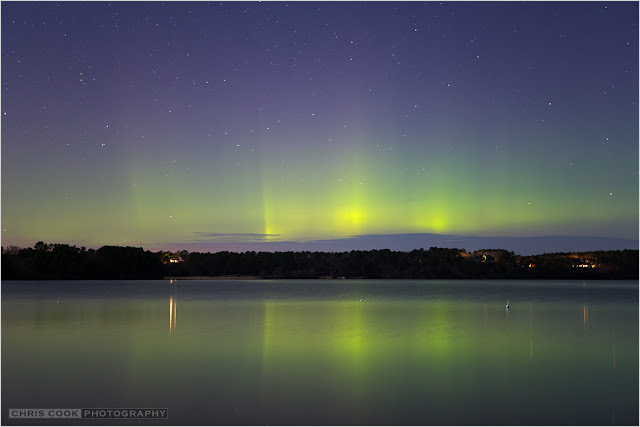 Cape Cod wedding blog photo from Chris Cook Photography about Aurora over Pleasant Lake