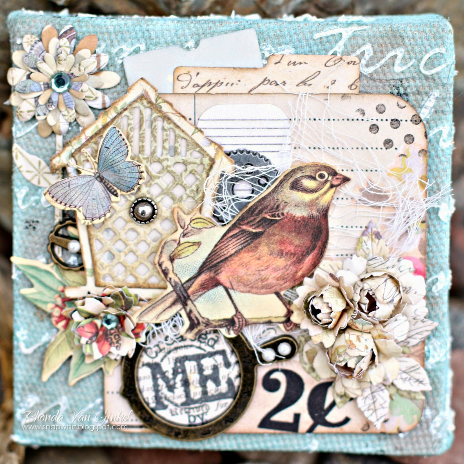 Creative Me canvas designed for Canvas Corp featuring 7 Gypsies Papers and Tattered Angels designed by Rhonda Van Ginkel