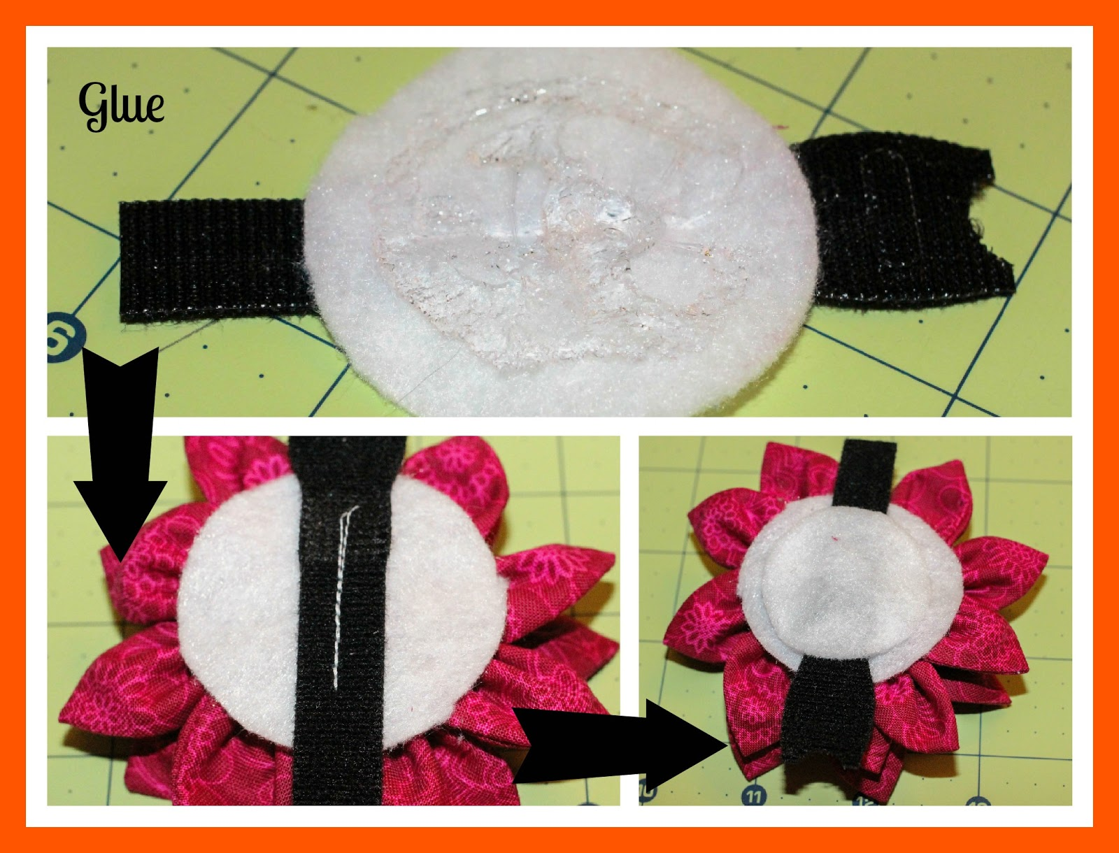 Pitlandia dog collar fabric flower tutorial next glue the 1 piece of felt on top of the velcro to hide the thread and to prevent the double sided velcro from fraying a nylon dog collar jeuxipadfo Gallery