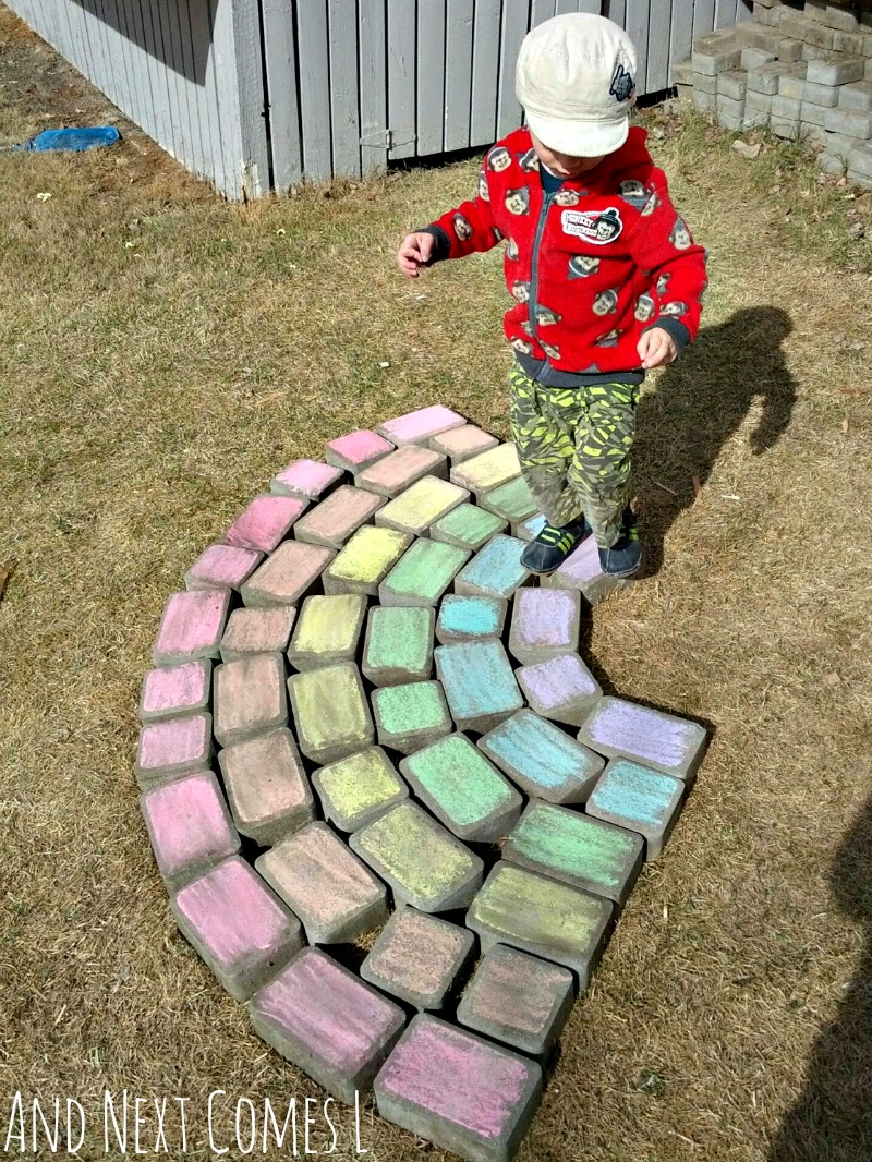 Naming the colors of the rainbow with a giant chalk rainbow from And Next Comes L