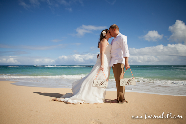 Maui wedding photographer Karma Hill bride and groom on the beach