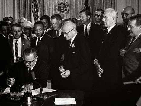 Dr. Martin Luther King, Jr., and Others Witness  President Lyndon Johnson Sign the Civil Rights Act of 1964