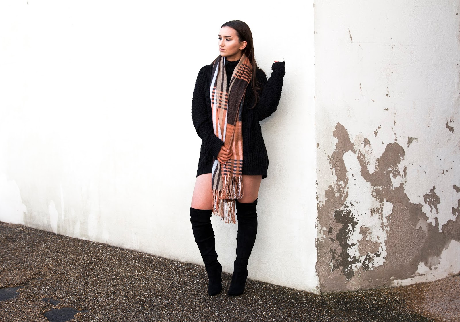 Knitted Knockout, An Outfit Post Styled by Kayley Anne Jones, featuring Knitted Jumper Dress, Knee High Boots and Tartan Scarf