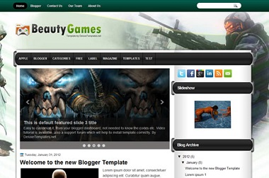 Beauty Games Blogger Template
