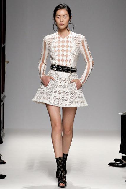 Balmain Paris Fashion Week 2012, Spring 2013 Ready to Wear White leather cutout dress, black belt
