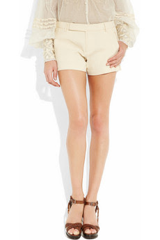 Marcy Cream Linen-blend Shorts with Intricately Handcrafted Crochet Panels