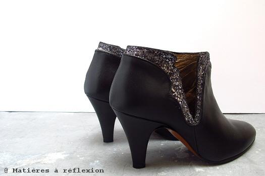 Ankle boots Patricia Blanchet Kronenberg cuir noir paillettes bottines