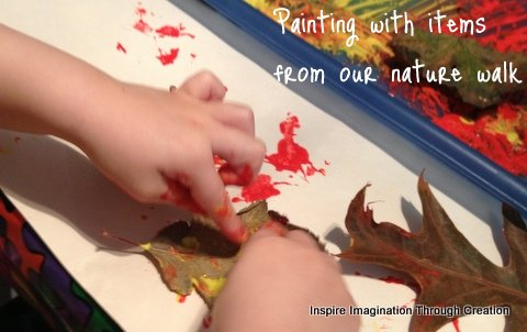 Inspire imagination through creation painting with items for Painting with nature items