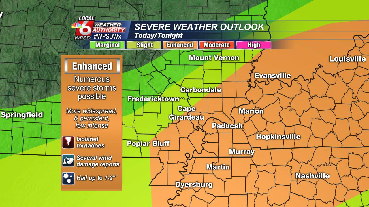 the storm prediction center has upgraded most of the local 6 area to an enhanced risk of severe storms today the threats still include damaging winds