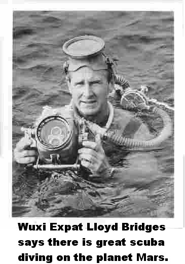 Admiral Lloyd Bridges, commander of the Wuxi China Expatdom Royal Navy, ...