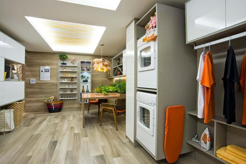 decoracao cozinha e area de servico integradas:Já essa cozinha e lavanderia integradas é uma ótima ideia para uma