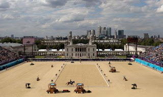 The dressage arena in Greenwich Park where the 2012 London Olympics are being contested