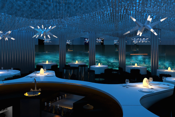 The decor in the restaurant obviously draws inspiration from it's aquatic environment. - This Is The Most Amazing Restaurant On Earth, Only It Isn't ON The Earth.