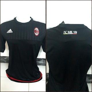 gambar photo jersey liga italia ac milan seria a Jersey training Ac Milan warna hitam terbaru musim 2015/2016