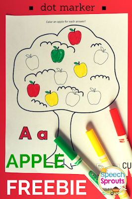Apple Freebie and an art project too for your Fall Apple Lessons www.speechsproutstherapy.com
