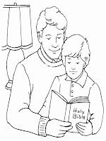 gambar mewarnai membaca alkitab bersama ayah