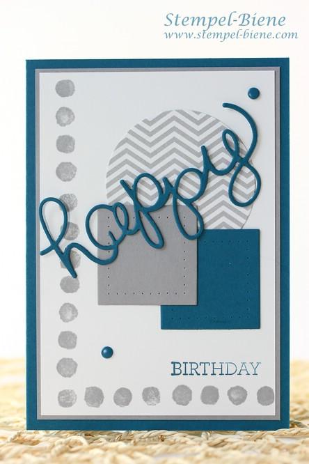 Stampin Up Crazy about you, Stampin Up Geburtstagskarte, Männerkarte zum Geburtstag, Match the Sketch, Stampin Up Angebote der Woche, Framelits Quadrat Kollektion