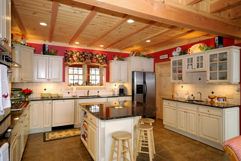 Home Kitchen Design Photos Typical New England Style Kitchen With Exposed Beams Granite Countertops