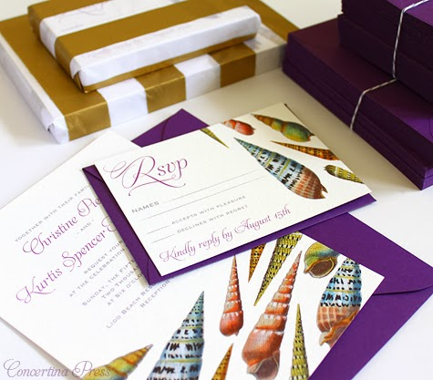 Purple Seashell Wedding Invitations |Concertina Press