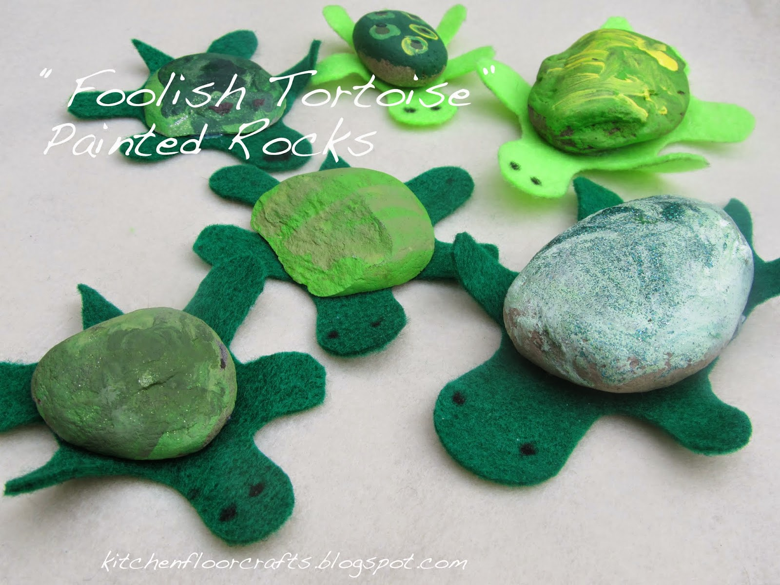 Kitchen floor crafts foolish tortoise painted rocks for Crafts made from rocks