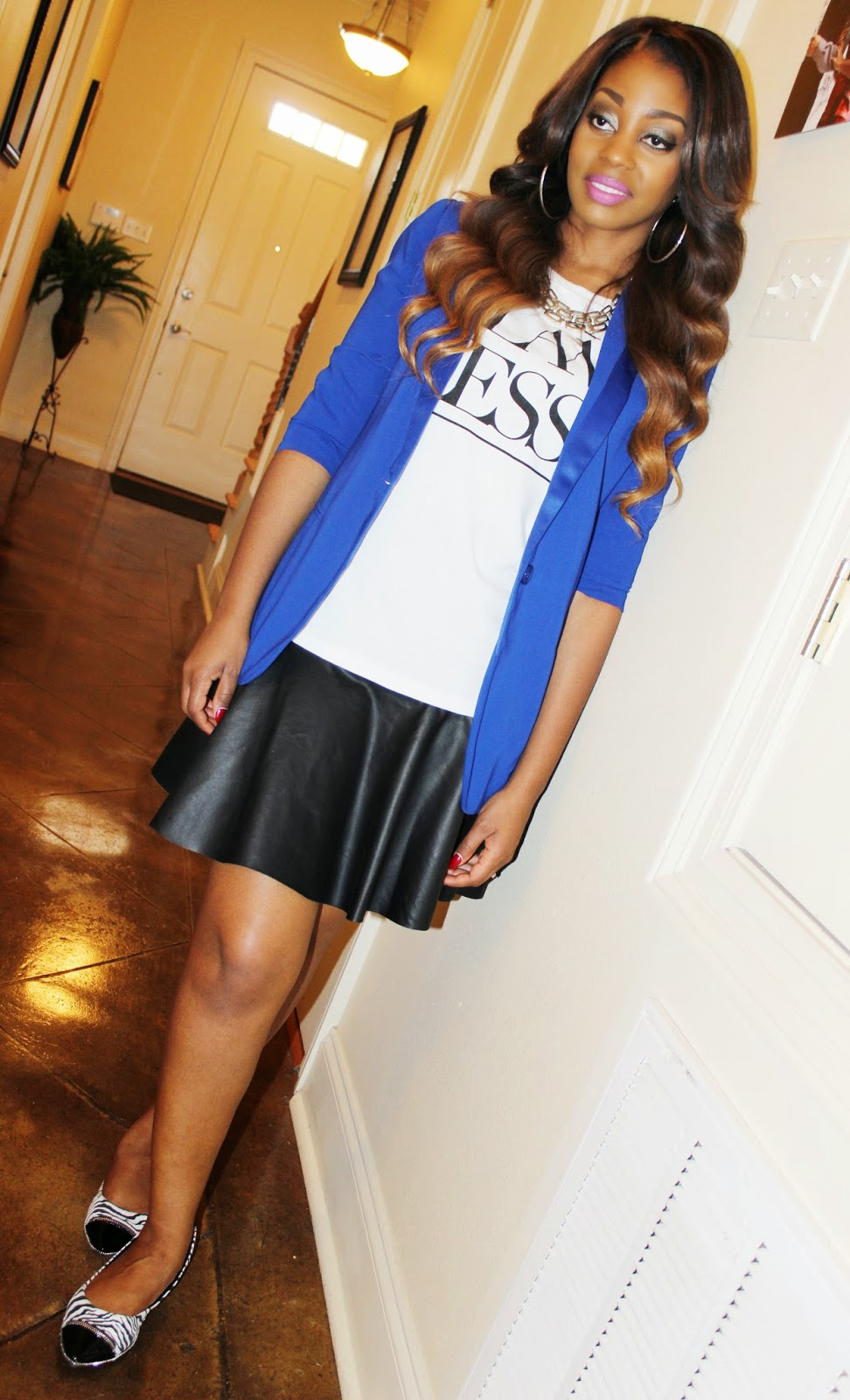 how to wear what to wear with Longline Royal Blue Blazer Forever 21 Flawless Tee I Heart Ronson Quilted Flippy Skirt Yellow Box Women's Lynn Ballet Flat in Zebra