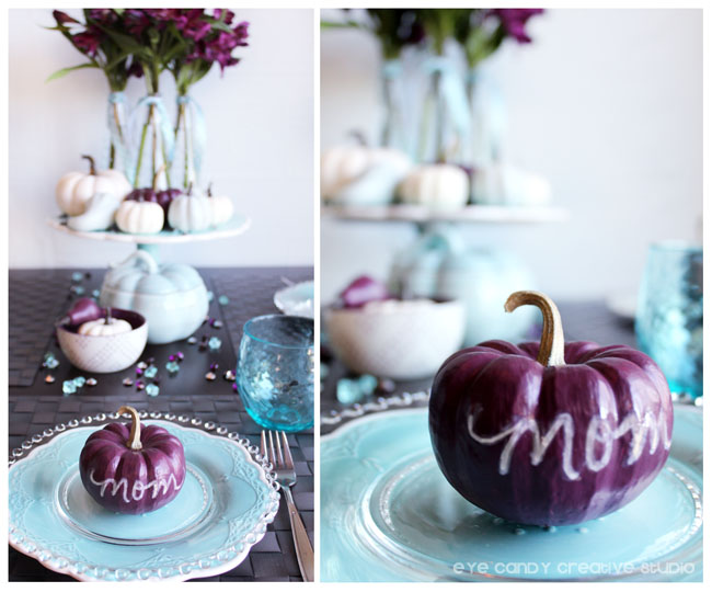 hand lettering on pumpkins, thanksgiving table decor, table ideas