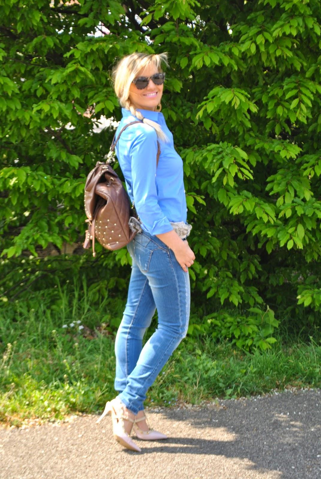 outfit zainetto fornarina outfit camicia blu come abbinare la camicia azzurra outfit jeans e tacchi foulard fattori abbigliamento mariafelicia magno fashion blogger colorblock by felym outfit aprile 2015 outfit primaverili donna spring outfit fashion bloggers italy fashion blogger italiane blog di moda ragazze bionde milano capelli biondi blondie blonde hair