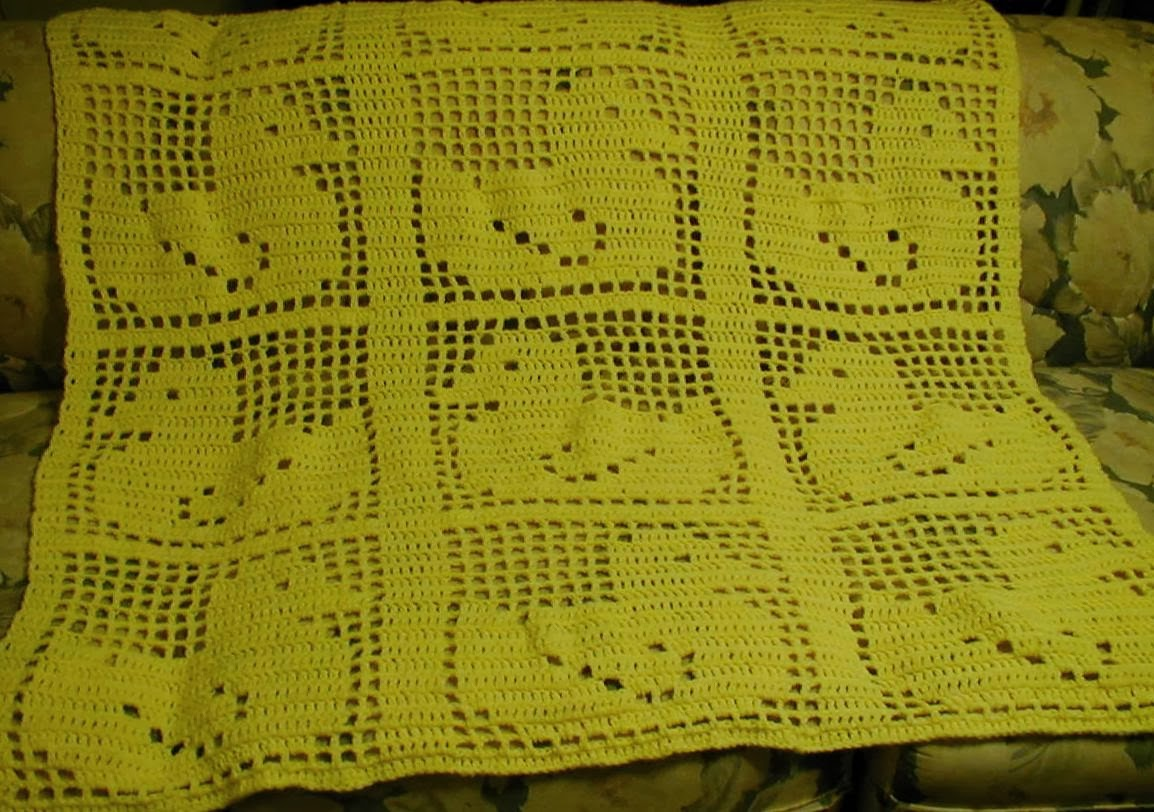 Finished crocheting this blanket today. It was a fun pattern to work ...