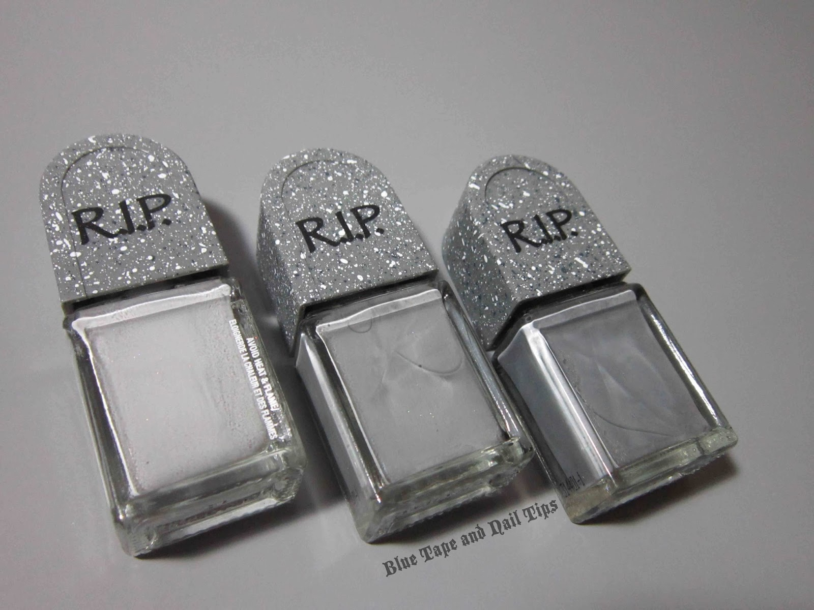 Blue Tape and Nail Tips: Easy Tombstone Halloween Nail Art