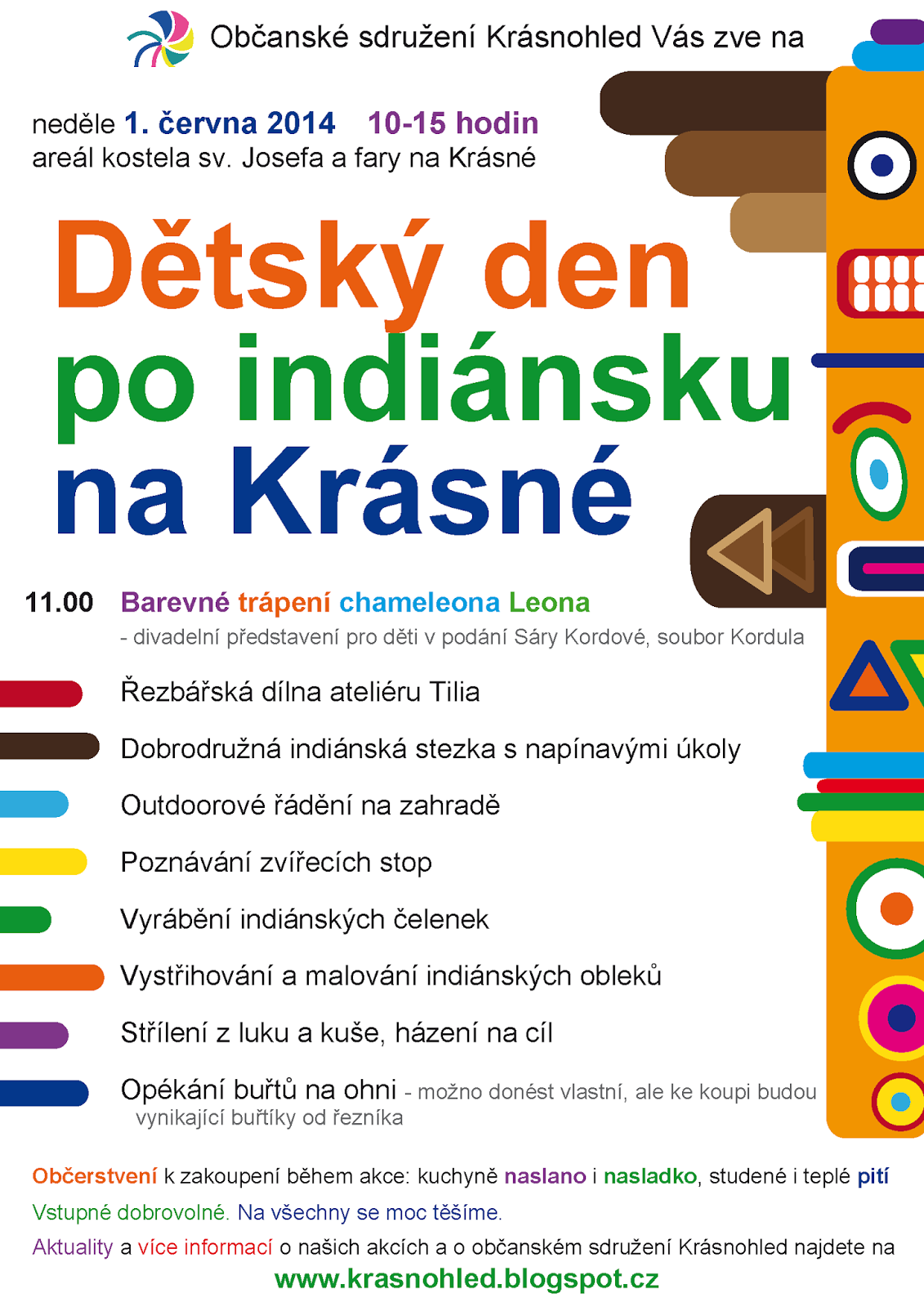Dětský den po indiánsku na Krásné neděle 1. června 2014