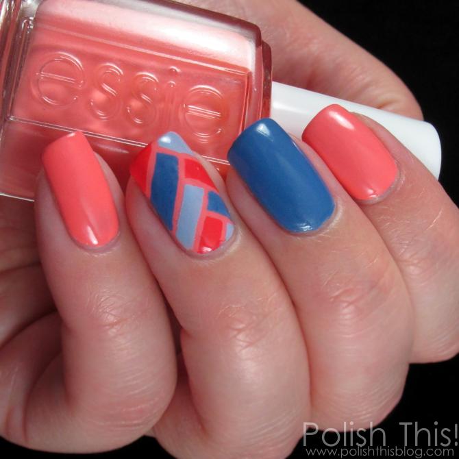 Essie Peach Side Babe Nail Art - Polish This!