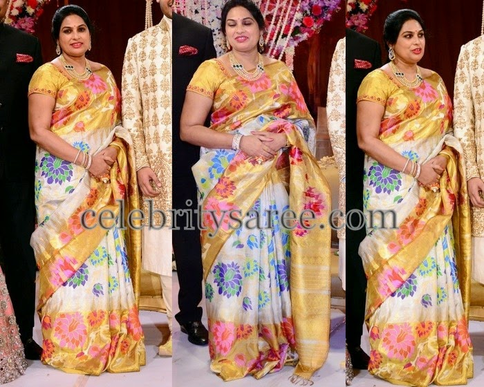 White Uppada Saree in Floral Design