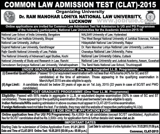 CLAT 2015 Online Registration | Common Law Admission Test-CLAT 2015 for LLB & LLM Programme
